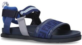 Fendi Kids Leather Logo Sandals