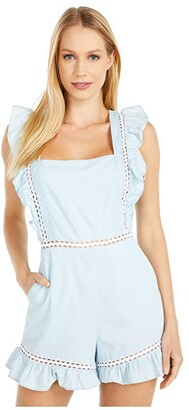 BCBGeneration Square Neck Ruffle Romper - TSO9278424 (Light Wash) Women's Jumpsuit & Rompers One Piece