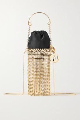 Rosantica Ghizlan Baby Fringed Embellished Satin Shoulder Bag - Black