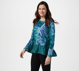 LOGO Lounge by Lori Goldstein Printed French Terry Top w/ Woven Hem