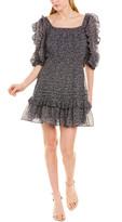 Rebecca Taylor Block Vine Silk-Blend A-Line Dress