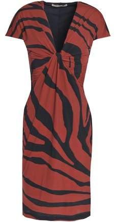 Roberto Cavalli Twisted Zebra-Print Stretch-Jersey Dress