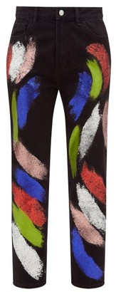 Germanier - Recycled Glitter Paint Straight Leg Jeans - Womens - Black Multi