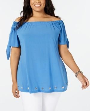 Belldini Plus Size Off-The-Shoulder Grommet Tunic