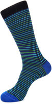 Jared Lang Stripe-Print Cotton-Blend Socks, Blue