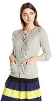 Lacoste Women's Long Sleeve Cotton Cable Knit Cardigan Sweater