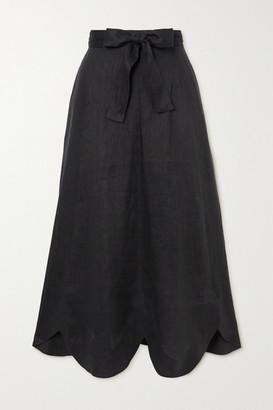 Zimmermann Riders Belted Scalloped Linen Midi Skirt - Black