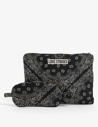 LOVE Stories Bandana-print eye mask and toiletry bag woven sleepover set