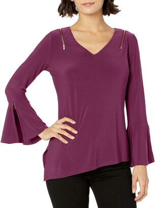 Love Scarlett Women's Petite Zipper Shoulder Tee