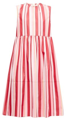 Marni Striped Cotton-poplin Midi Dress - Womens - Pink Multi