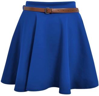Cima Mode Women's Skater Skirt Flared Mini Frankie Belted Short Dress - Black - 6/8