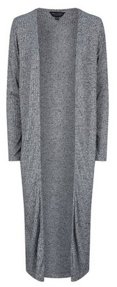 Dorothy Perkins Womens Grey Marl Longline Rib Cardigan, Grey