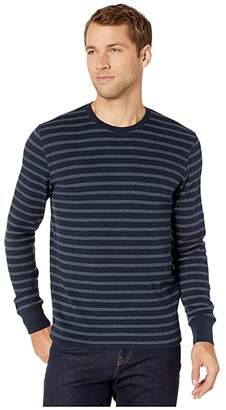 Lucky Brand Stripe Thermal Crew Top (Navy Blue) Men's Clothing