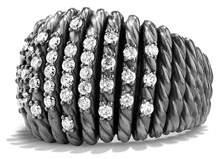 David Yurman 18mm Tempo Pavé White Diamond Ring