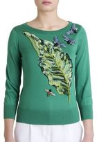 Dolce & Gabbana Embellished Leaf Silk Sweater