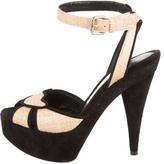 Fendi Suede & Raffia Sandals