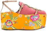 Gucci removable platform slippers - women - Silk/Leather/Velvet - 36