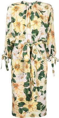 Dolce & Gabbana Floral Print Silk Dress