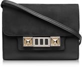 Proenza Schouler PS11 Black Leather and Nubuck Wallet w/Shoulder Strap