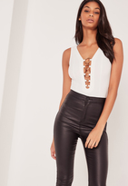 Missguided Gold Ring Detail Bodysuit White