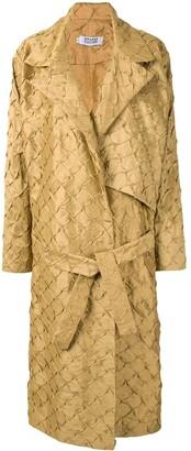 Orange Culture Geometric-Pattern Belted Jacket