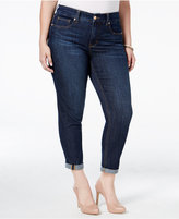 Melissa McCarthy Trendy Plus Size Dark Blue Wash Girlfriend Jeans