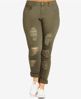 City Chic Plus Size Ripped Khaki Wash Boyfriend Jeans