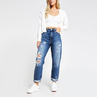 River Island Womens Petite denim Carrie ripped jean