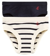 Petit Bateau Pack of 2 Navy and Stripe Briefs