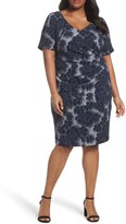 Adrianna Papell Plus Size Women's Side Ruched Sheath Dress