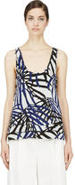 Proenza Schouler Blue and Black Waffle Chiffon Printed Tank Top