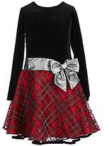 Bonnie Jean Little Girls 4-6X Plaid Skirt Dropwaist-Bow Dress