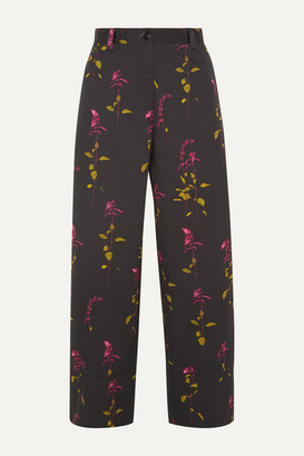 Dries Van Noten Paroval Cropped Floral-print Cotton-twill Wide-leg Pants - Black