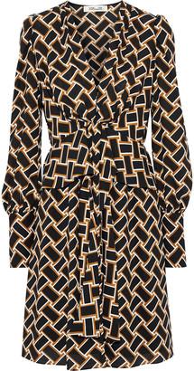 Diane von Furstenberg Maddi Tie-front Printed Crepe Peplum Dress