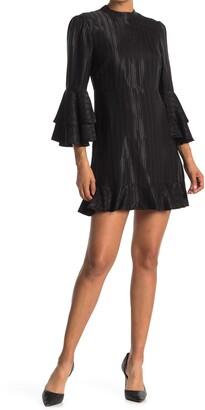 Catherine Malandrino Bell Sleeve Ruffled Shift Dress