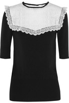 Erdem Marissa Lace-paneled Jersey-crepe Top - Black
