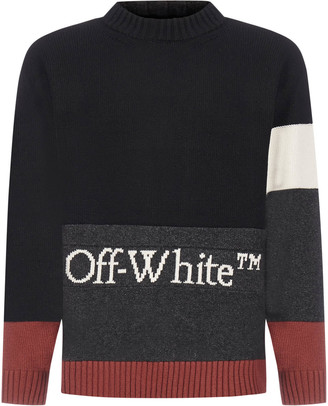 Off-White Color Block Logo Wool Sweater