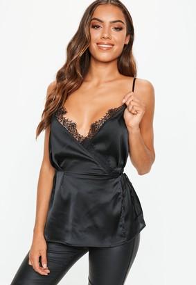 Missguided Black Lace Trim Wrap Cami Top