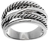Lord & Taylor Sterling Silver Mixed Crossover Ring