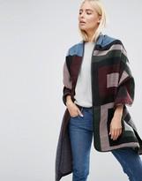 Asos Oversized Woven Long Jacquard Stripe & Block Scarf