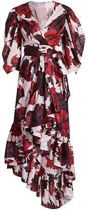 Alexandre Vauthier Floral Puff-Sleeve Wrap Midi Dress
