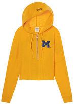 PINK University Of Michigan Varsity Cropped Half-Zip Hoodie
