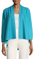St. John Wave Crest Cotton Draped Front Cardigan