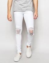 Asos Extreme Super Skinny Jeans With Extreme Knee Rips