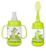 Nuby Infant Printed Bottle Feeder, Set of 2 - Lime