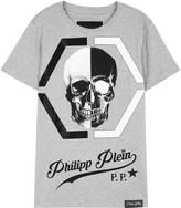 Philipp Plein Grey Embellished Skull-print T-shirt