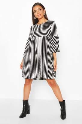 boohoo Stripe 3/4 Sleeve Smock Dress