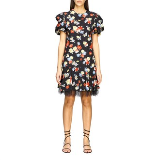 Ermanno Scervino Printed Silk Dress With Lace Bottom
