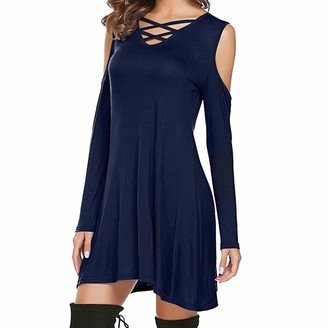 VECDY Women's Dress Solid Color Casual Cold Shoulder Long Sleeve Round Neck Party Mini Dress Chest Strap Strapless Dress(Navy14)