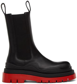 Bottega Veneta Black and Red Tire Chelsea Boots
